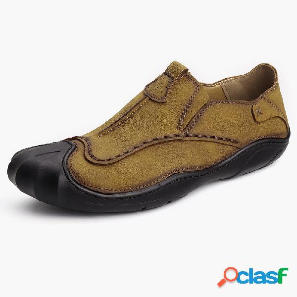 Zapatos casuales suaves outdoor slip on de cosido a mano de cuero genuino para hombres