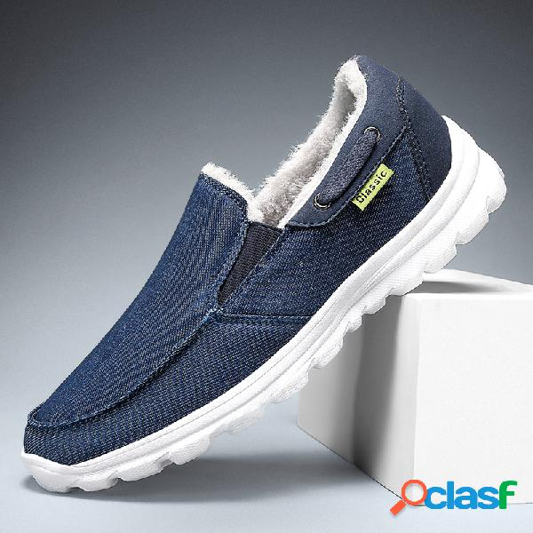 Zapatillas deportivas informales cómodas y cálidas de tela de costura para hombre