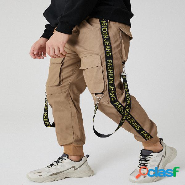 Cintura elástica con cinta de letras para hombre carga pies de viga pantalones con bolsillo con solapa