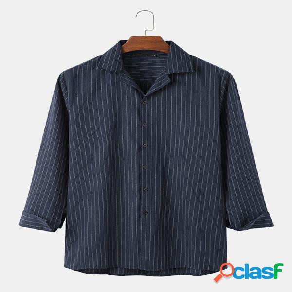 Hombre 100% algodón de manga larga v cuello camisas sueltas informales a rayas