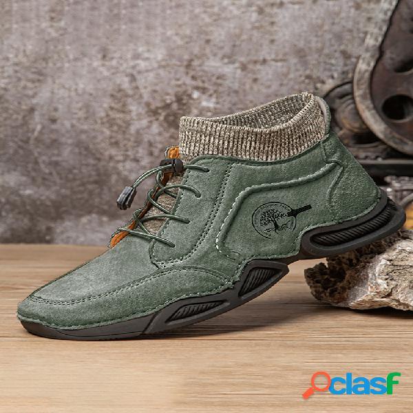 Hombre classic hecho a mano soft calcetín cómodo de ante botas