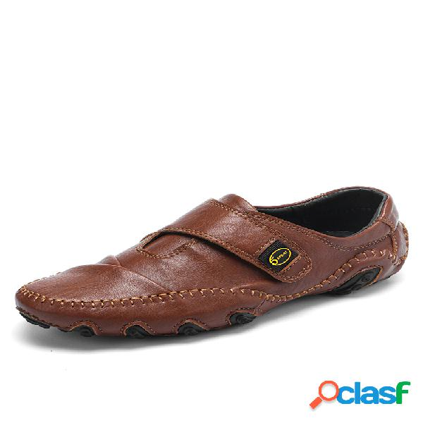 Hombre cuero de microfibra cosido a mano soft gancho zapatos de conducción casuales con lazo