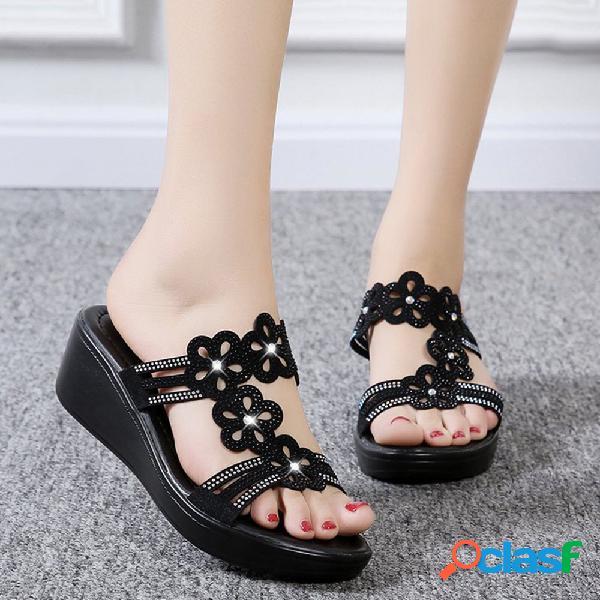 Mujer flores de diamantes de imitación huecas casuales peep toe wedges sandalias