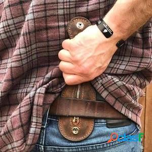Hombre edc vendimia cuero bolsa monedero de autodefensa monedero monedero