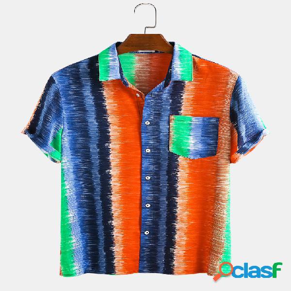 Hombres colorful rayas dibujadas a mano doodle vacaciones casual camisa