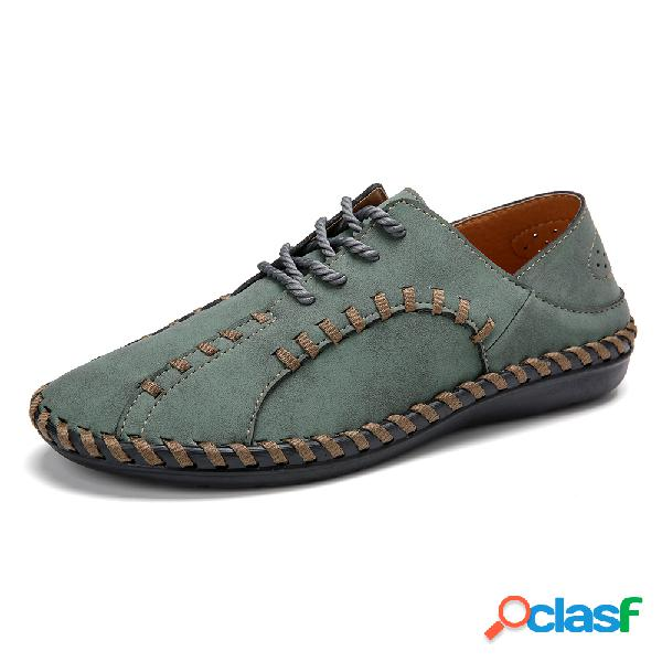Menico zapatos casuales de microfibra para hombre cosidos a mano soft zapatos casuales