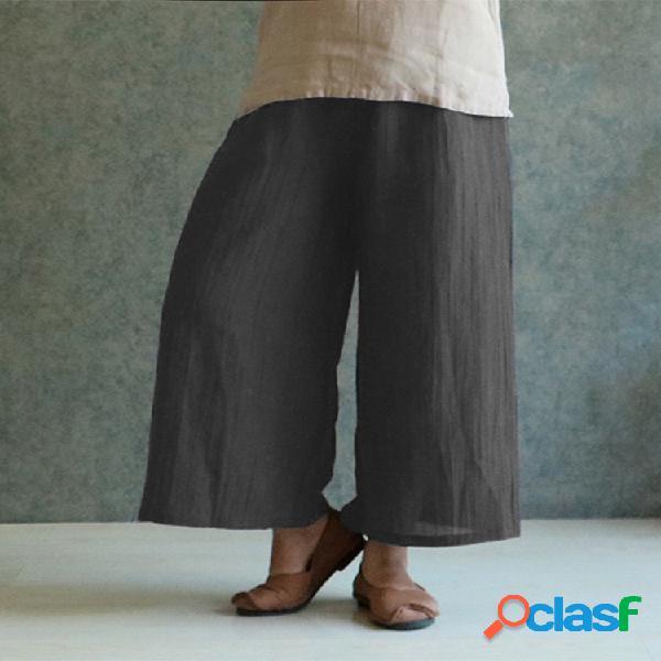 Vendimia cintura elástica de color sólido plus tamaño pantalones