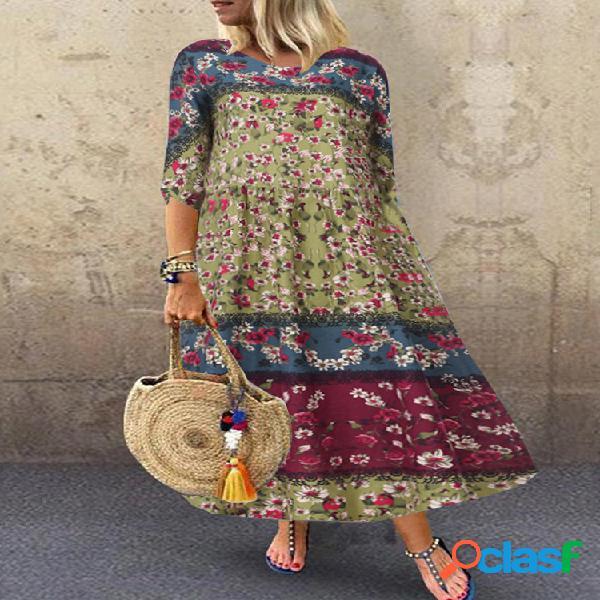 Vendimia floral patchwork empire waist plus tamaño vestido