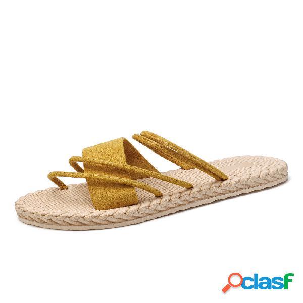 Mujer ante de color liso soft bottom flats zapatillas