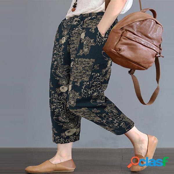 Vendimia cintura elástica con estampado floral plus tamaño harén pantalones