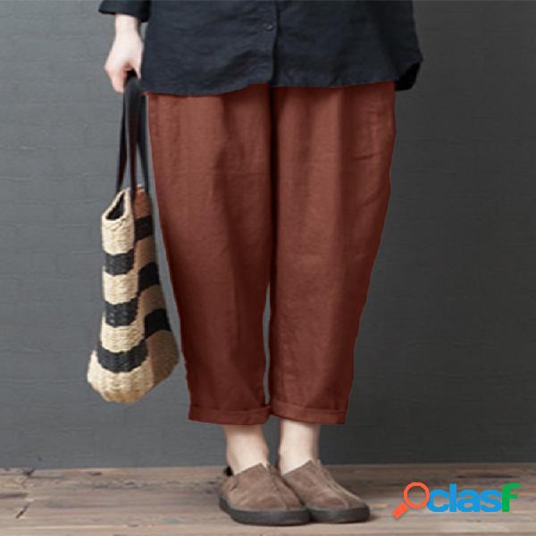 Vendimia color sólido cintura elástica plus tamaño harem pantalones