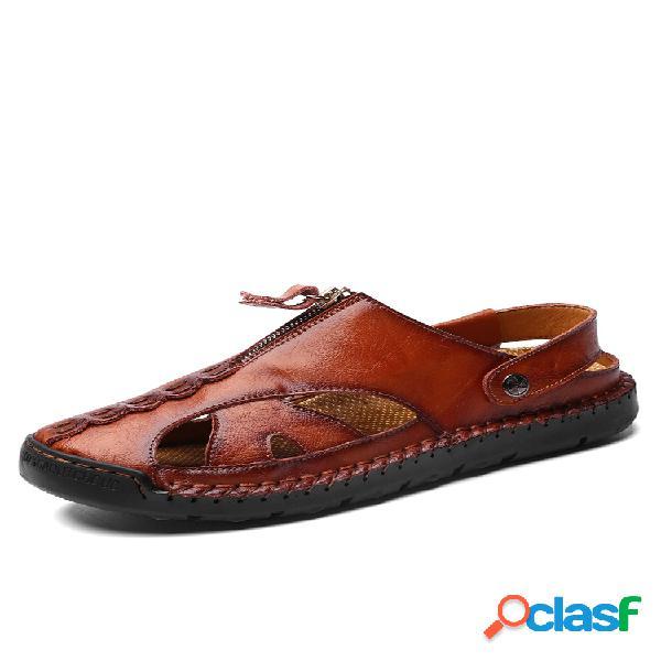 Hombre punta cerrada costuras a mano al aire libre cuero con agujeros sandalias