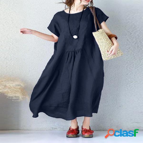 Casual color sólido plisado suelto plus tamaño vestido con bolsillos