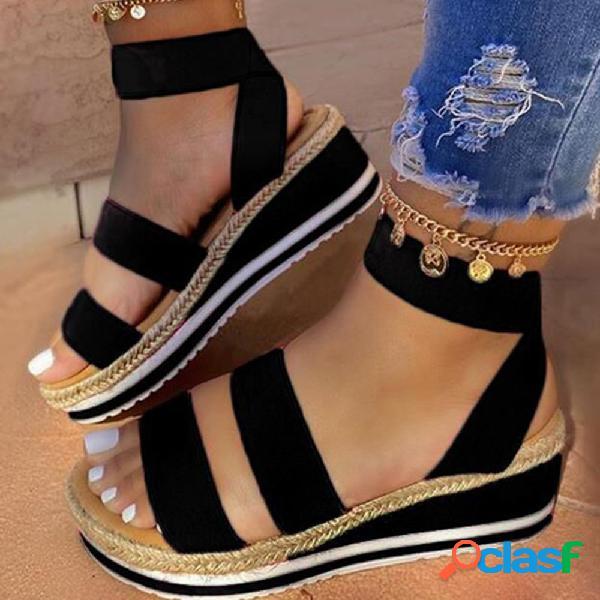Mujer comfy daily correa elástica abierta en la punta banda cuñas sandalias