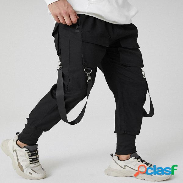 Cintura elástica sólida con múltiples bolsillos para hombre carga pies de viga pantalones con cinta
