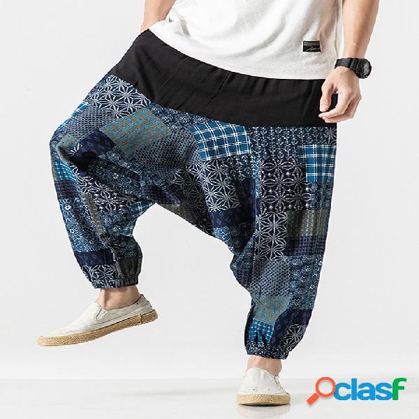 Hombres 100% algodón étnico estampado patchwork casual harem suelto pantalones