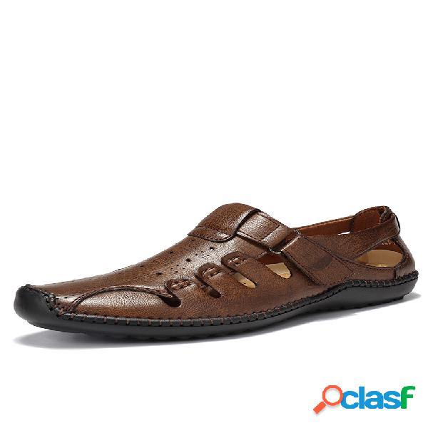 Costura a mano para hombre vestido sandalias cuero ahuecado sandalias