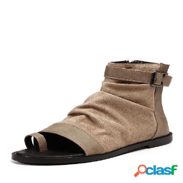 Mujer peep toe ring cremalleras planos bolsa zapatos de tacón