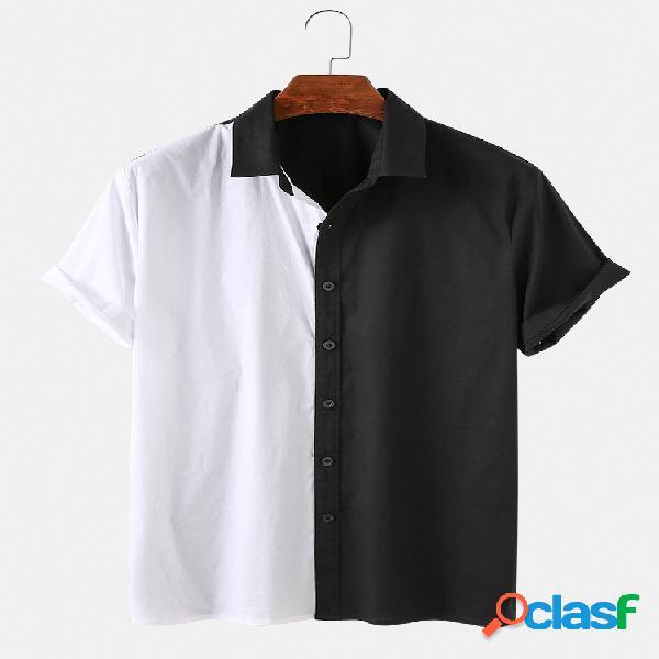 Hombre asimétrico blanco y negro costura casual manga corta camisa