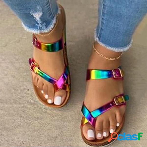 Plus tamaño mujer cómodo colorful hebilla clip ajustable punta plana zapatillas