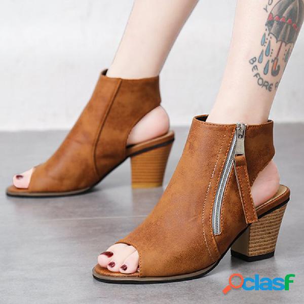 Plus tamaño mujer retro open toe & heel zipper chunky heel high top sandalias