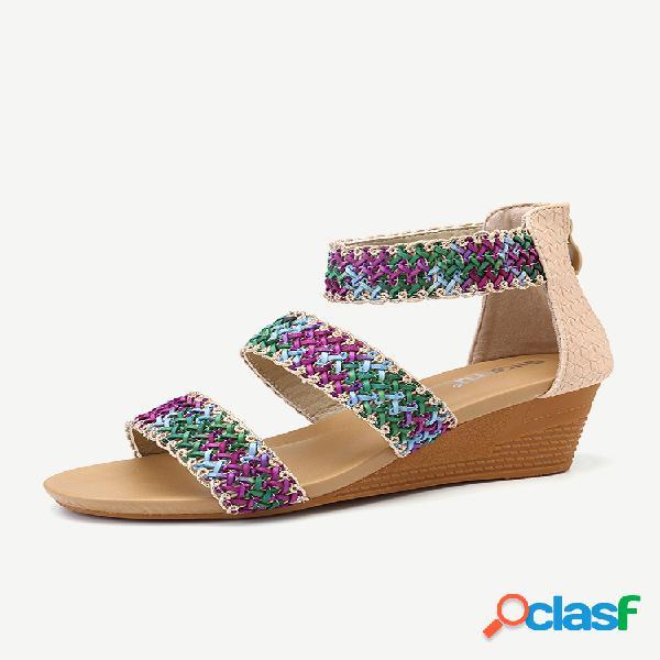 Mujer tacón de cuña peep toe trenzado bohemia casual sandalias