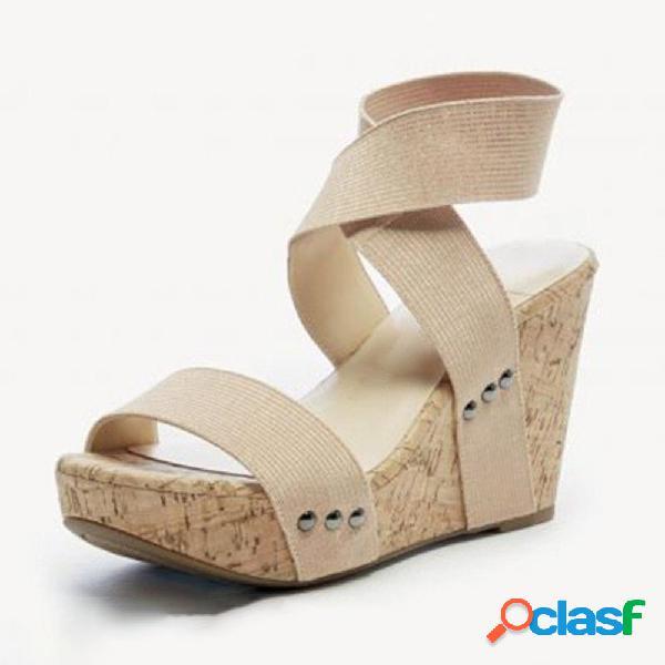 Peep toe banda correa cuña sandalias