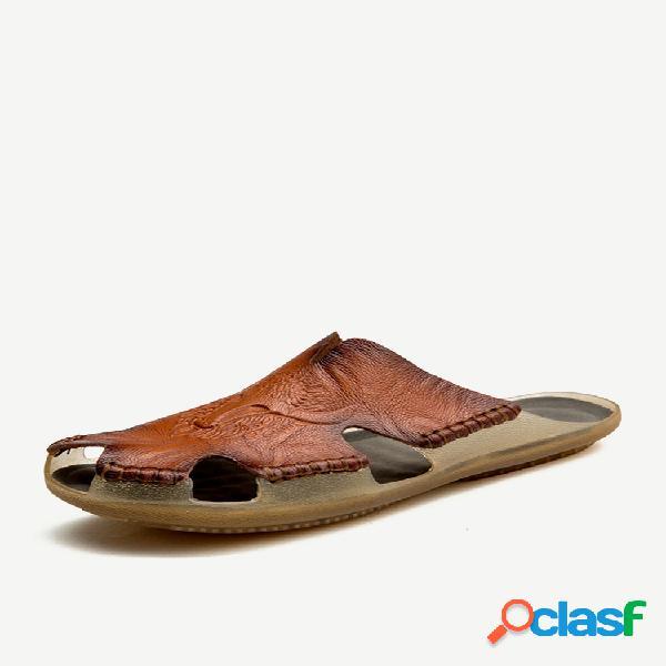 Hombre antideslizante costura a mano empalme gran tamaño soft suela casual zapatillas