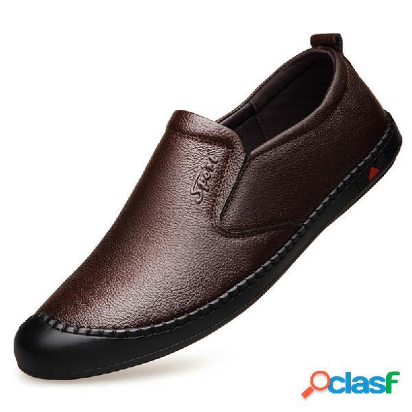 Hombre costura de mano cuero anticolisión antideslizante soft zapatos de conducción casual