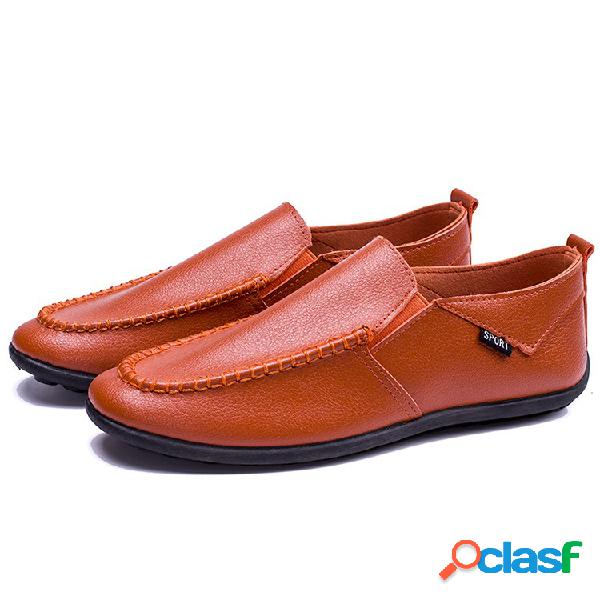 Hombres low top pure color comfy soft sole slip on casual loafers