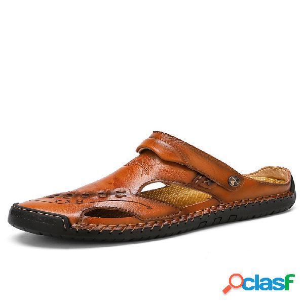 Talla grande hombre costura a mano punta cerrada comfy soft cuero sandalias