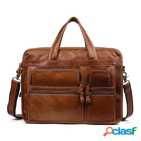 Hombre piel genuina 13,3 inch maletín para portátil business laptop bolsa vendimia hombro bolsa