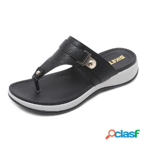 Mujer cuña de gran tamaño soft toe inferior sandalias zapatillas