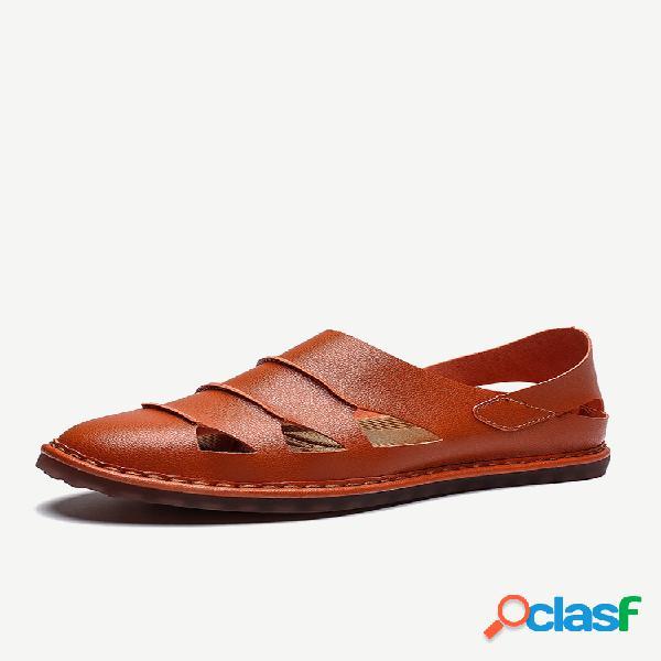 Hombres de gran tamaño con costura ahuecada soft suela sin cordones en cuero informal sandalias