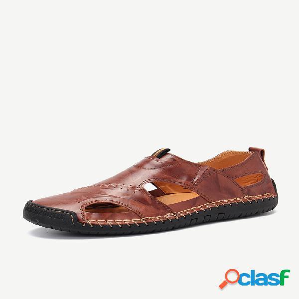 Talla grande hombre classic costura a mano al aire libre cómoda soft cuero sandalias