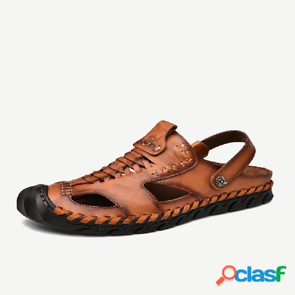 Hombre al aire libre punta cerrada con costura a mano soft cuero informal antideslizante sandalias