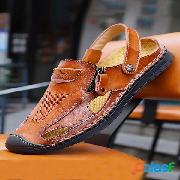 Menico de gran tamaño para hombre, cosido a mano, cremallera lateral, dedo del pie protector, cuero sandalias