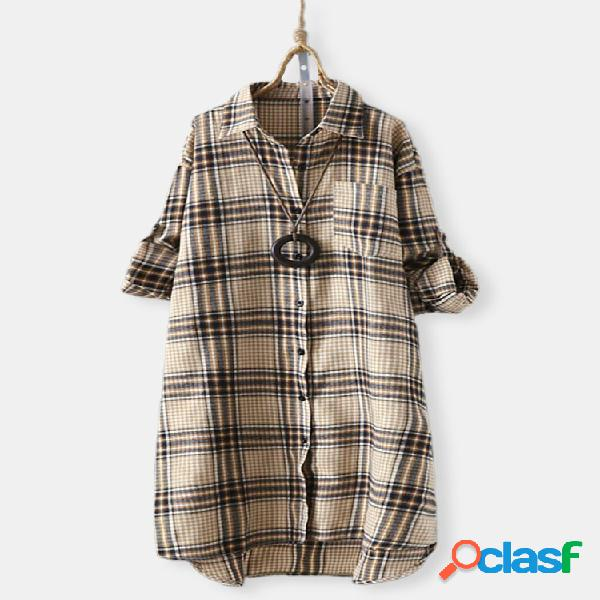 Vendimia botón de solapa a cuadros de manga larga plus tamaño camisa