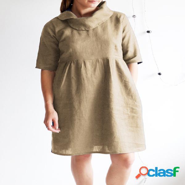 Vendimia manga media del cuello del montón del color sólido plus tamaño vestido