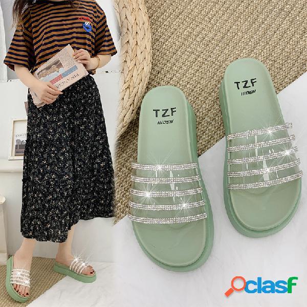 Decoración de diamantes de imitación para mujer transparente banda plataforma antideslizante zapatillas