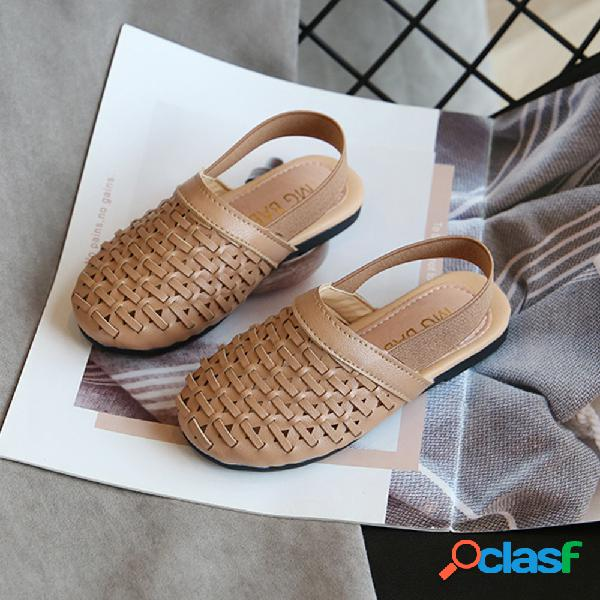 Girls retro weave back elastic banda slip on backless playa sandalias