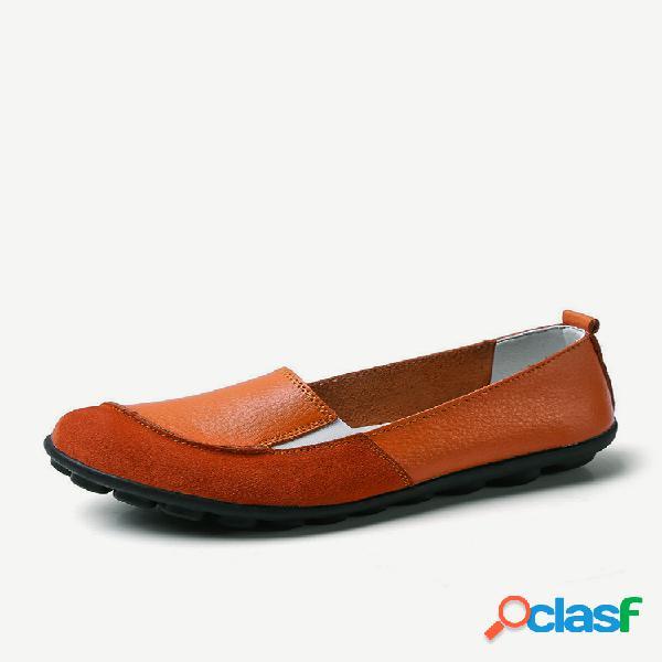 Zapatos planos casuales elásticos banda de cuero de ante de gran tamaño para mujer