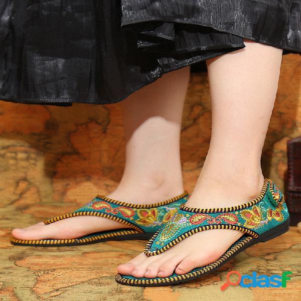 Chanclas con costura floral hecha a mano transpirable gancho lazo plano hawaiano sandalias