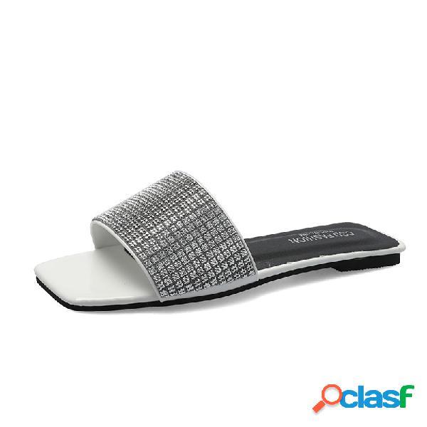 Mujer toe diario abierto, cómodo, plano zapatillas