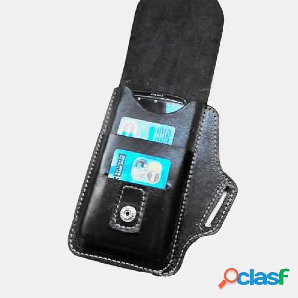 Hombre edc piel genuina retro 2 bolsillo para tarjetas teléfono sólido caso cintura cinturón bolsa