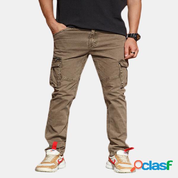 Costura casual para hombre bolsillos multifuncionales algodón color sólido carga pantalones