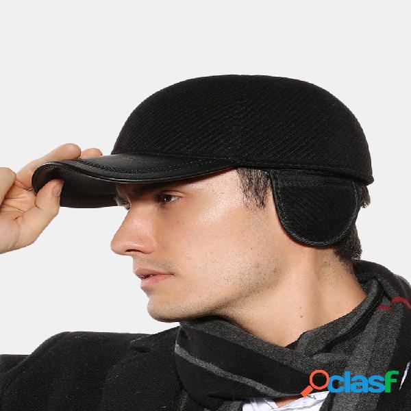 Hombre warm al aire libre earmuffs leather sombrero gorra de béisbol