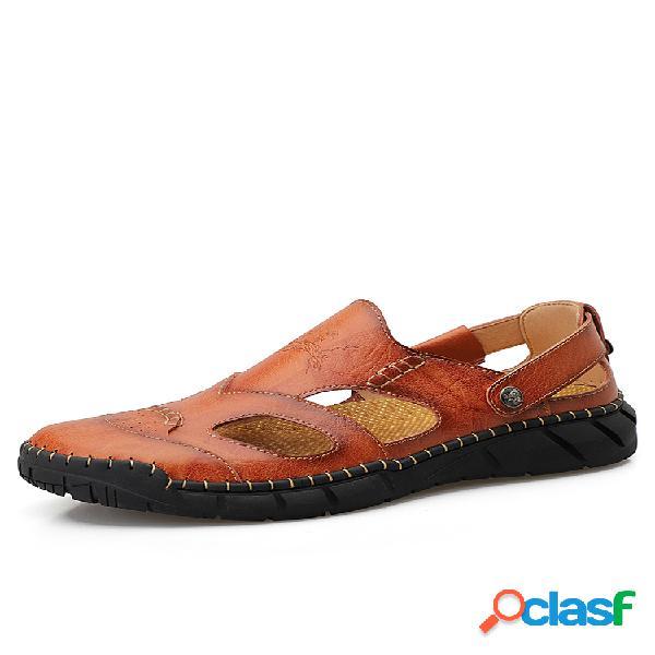Hombre piel cosida a mano antideslizante soft suela casual sandalias