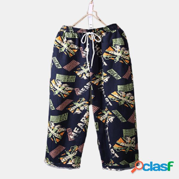 Vendimia imprimir cintura elástica suelta plus tamaño pantalones