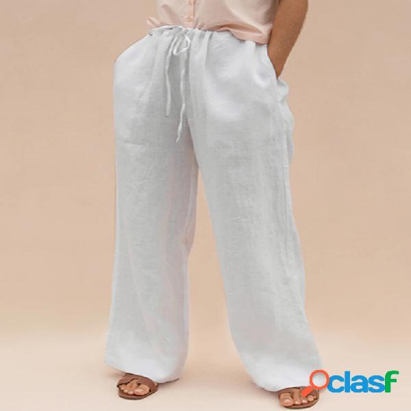 Cordón de color sólido suelto plus tamaño pantalones con bolsillos